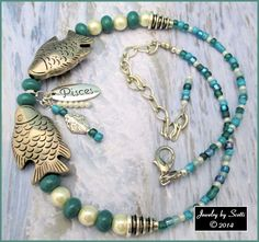 Pisces Fish Dangle Charm Teal Green Silver by JewelryByScotti, $25.00