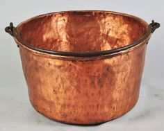 apple butter kettle   1105: Large Copper Apple Butter Pot with Metal Handle.