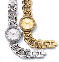 "Bold Pave Case Link Bracelet Watch- Rhinestone bezel and 6 1/4"" L bracelet with two 3/4"" extender links."