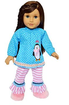 NEW GENERATION DOLL CLOTHES PENGUINS BLUE HOODED JACKET FITS 18 INCH DOLL