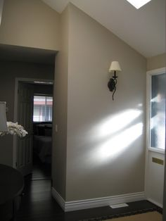 "Benjamin Moore ""Revere Pewter""  Nice paint colour. Go good w flagstone"