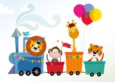 Animal train art print nursery illustration by IreneGoughPrints