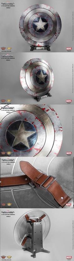 #CaptainAmerica The #WinterSoldier 1/1 Scale Shield Replica - Battle Damage Shield With Display Stand - Midtown Comics