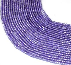 """5 Strands Amethyst Cubic Zirconia 3mm Rondelle Faceted CZ Beads 13.5"""" Long Bead #Raagarw"""