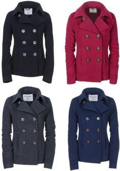 Aeropostale Womens Solid Peacoat Winter Wool Pea Coat Jacket XS s M L XL 2XL New | eBay