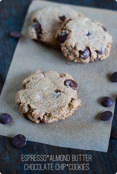 espresso almond butter chocolate chip cookies - @bridget edwards {bake at 350}