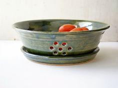 Large berry bowl colander pottery berry bowl by CurlyGirliePottery  -  etsy, handmade.  fruit, veggies, etc.   lj