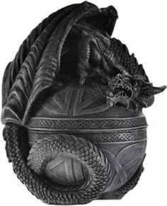 A highly detailed cold cast resin box heavily covered with Celtic carvings and a curled dragon atop the lid. 6 x x (This item does not ship to Hawaii, Alaska, Puerto Rico,Guam or PO/APO/RR/HH Boxes. Pagan Witchcraft, Wicca, Magick, Pagan Altar, Witchcraft Supplies, Dragon's Lair, Medieval, Celtic Dragon, Celtic Art