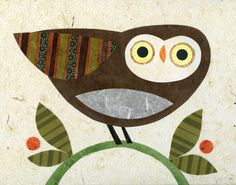 Watchful on a BranchLarge Print by kateendle on Etsy, $40.00 owl collage print