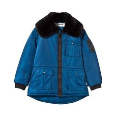 The BRAND Blue Parka with Faux Fur Collar