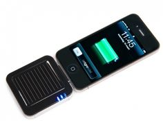 This pocket solar charger from German for your iPhone. Features:  Li-ion Batterie: 3.7 V - 1900 mAh - Solar-Panel: 5.0 V - 35 mA - Output: 5 V - 500 mAh