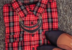Get the look: Red & Black Plaid Shirt