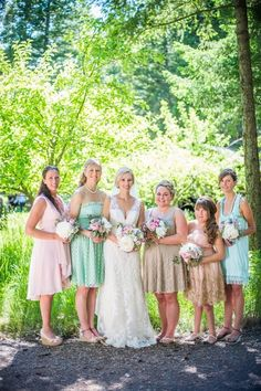 Love these bridesmaids' mix of mint, pink and neutral dresses! Perfect for a pastel-colored wedding. Bridesmaids, Bridesmaid Dresses, Wedding Dresses, Wedding Gallery, Wedding Photos, Columbia Falls, Montana, Real Weddings, Pallet