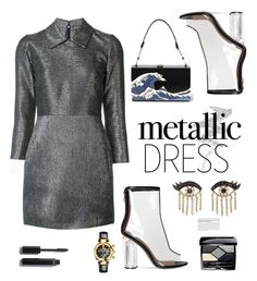 """Heavy Metal: Metallic Dresses"" by hamaly ❤ liked on Polyvore featuring Dodo Bar Or, NYX, Sydney Evan, Versace, Chanel, Christian Dior, Olsen, outfit, ootd and dresses"