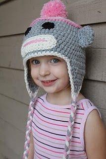 Free sock monkey hat crochet pattern