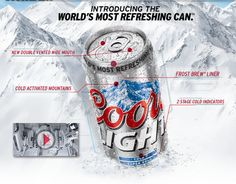 """New Coors Light Can: """"The World's Most Refreshing"""" Smart Packaging, Beer Online, Stock Quotes, Brewing Company, Design Thinking, Drinking, Alcohol, Product Launch, Cold"""