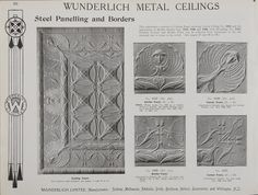 Catalogue page, page 20 of 'Abridged General Catalogue of Metal Ceilings, Wall Linings and Stamped Metal for Exterior and Interior Decoration', Wunderlich Limited, Redfern, New South Wales, Australia, September 1912  Page 20 of 'Abridged General Catalogue of Metal Ceilings, Wall Linings and Stamped ...