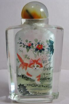 Kitten Cats Inside Hand Painted Crystal Glass Snuff Bottle | eBay