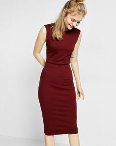Again, don't wear many dresses but it'd be good to have a staple or two for work. Like the deep red of this and shape- high neck (I'm busty) and low hem (I'm tall). I have nice arms so I don't mind showing them off. Clean lines. No fuss.