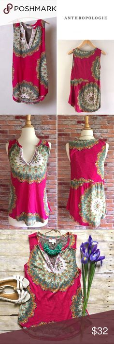 """Anthropologie Meadow Rue Split Image tank Known for its peasant shapes and gossamer interpretations of lace and embroidery, Meadow Rue's pieces are thoroughly feminine, but also effortless and casual. Complete with a tasseled V-neck, this mixed-print tunic is the perfect way to shake up your jeans-and-tee routine. Gently loved. 60/40 cotton, modal. 25.5""""L. 17.5"""" bust laying flat. Size medium. *Green Anthro cardi is also for sale in my closet, buy the look and save! Anthropologie Tops"""