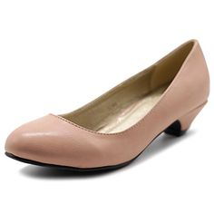 Pumps D'Orsay n Two-Piece  Ollio Womens Shoe Classic Low Heel Comfort Pump 7 BM US Skin Pink ** Click the VISIT button to enter the website