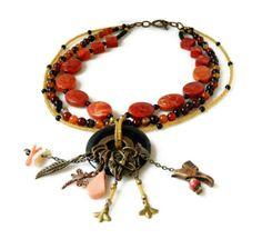 Red Sponge Coral Statement Necklace Orange Black by MsBsDesigns, $220.00
