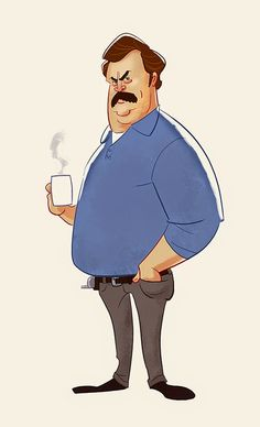"Ron Swanson ""Please and thank you."" Art by Edward Pun Character Drawing, Comic Character, Character Concept, Cartoon Art, Cartoon Characters, Indian Illustration, Abstract Face Art, Ron Swanson, Character Design Inspiration"