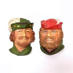 Robin Hood and Little John Chalkware Head 3D Sculpture by Legend Products, Wall Art Plaque Set, Vintage Man Cave Bar Deor