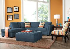 picture of Cindy Crawford Home Calvin Heights Indigo 2 Pc Sectional  from Sectionals Furniture
