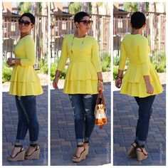 Yellow Cascading Ruffle Long Sleeve Round Neck Peplum High Waisted Fashion T-Shirt Fashion Sewing, Diy Fashion, Fashion Looks, Womens Fashion, Fashion Tips, Fashion Trends, Fall Outfits, Casual Outfits, Summer Outfits