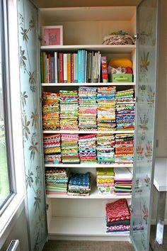 Fantastic idea for storing quilting fabric!