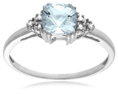 ($122.00) 10k White or Yellow Gold, March Birthstone, Aquamarine and Diamond Ring   From Amazon.com Collection