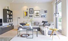 Piccolo soggiorno contemporaneo di ispirazione scandinava, colori bianco e grigio con alcun tocco di colore giallo - pareti colore crema