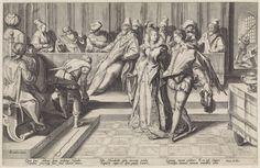 Jan Saenredam   Salome bij het banket van Herodes, Jan Saenredam, Franco Estius, David de Meyn, 1589 - 1607   Salome en een jonge man dansen(?) voor een lange tafel, waaraan verschillende personen zitten, onder wie Herodes. Links houdt een man een vat vast. Rechtsachter knielt de geblinddoekte Johannes de Doper voor een man met een opgeheven zwaard. Onder de voorstelling een zesregelige, Latijnse tekst met een toelichting op de scène.