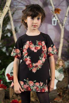 Zwarte jurk van satijn met bloemen opdruk - love made love - www.robyn-kids.nl