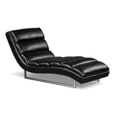 Maddy Leather-Look Fabric Chaise – Black