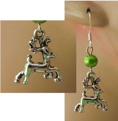 Silver Reindeer Charm Drop/Dangle Earrings Handmade Jewelry Hook Christmas Green #handmade #DropDangle