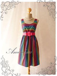 Rainbow spectrum - Popping Summer Dress Indigo Stripe Dress Party Popping Tea Dress Party Event Everyday Dress Black Shade Round Neck -S-M-. $39.00, via Etsy.