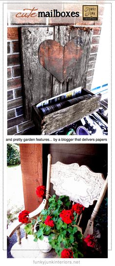 Cute mailboxes and pretty garden features... from a blogger papergirl