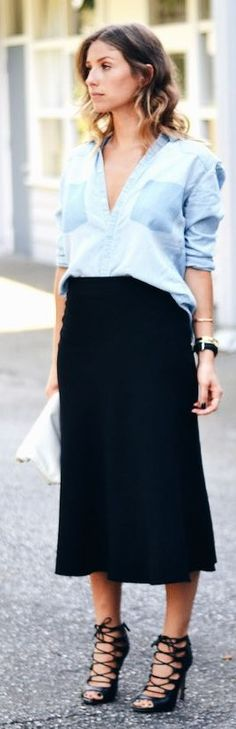 The August Diaries Denim On Black Outfit