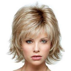 Shaggy Wave Side Bang Short Nobby Capless Short Mixed Color Heat Resistant Fiber Wig For Women