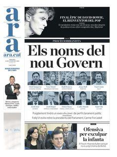 Els noms del nou Govern de Catalunya. Gener 2016.