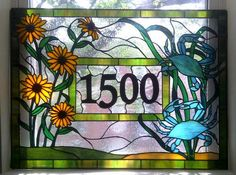 Stained Glass  Window Panel / Crabs and Black Eyed Susans/ Transom with House Numbers (AM-25). $650.00, via Etsy.