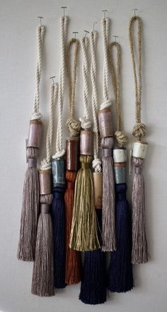 There's something so beautifully poetic about All Roads' silk tassels that I'm desperately trying to justify enough reasons to purchase them in every dreamy, soft hued color. I also have a compulsive need to run my hands through the… Do It Yourself Inspiration, Diy Tassel, Passementerie, Silk Thread, Schmuck Design, Fiber Art, Patches, Weaving, Textiles