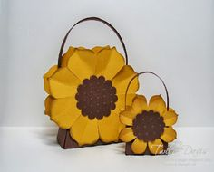 Stamp A Little Longer: Sunflower Treat Boxes / Floral Framelits and Purse Die / Sizzix treat holder party favor DIY craft 3d Paper Crafts, Fun Crafts, Sunflower Cards, Treat Holder, Treat Box, Craft Bags, Fall Cards, Card Tutorials, Stampin Up Cards