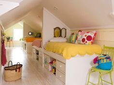 Huge kids room-I love this idea, it is almost a modern Brady Bunch room. I want a big family and this would be perfect for the girl's rooms. ally_hale