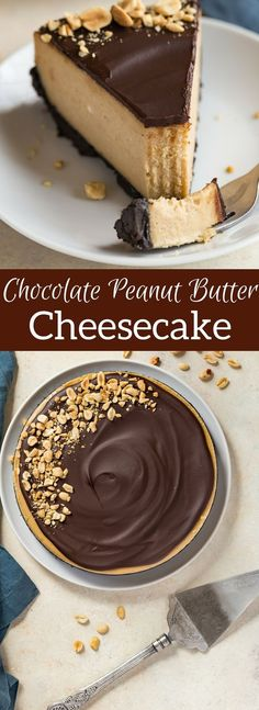 Chocolate Peanut Butter Cheesecake on an Oreo cookie crust, with a rich peanut butter filling, and topped with chocolate ganache.