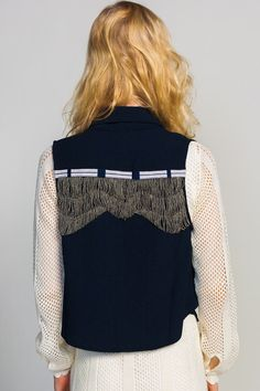 Line & Dot 'Ruffled' Vest
