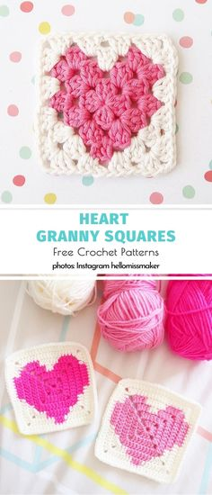 Heart Granny Squares Free Crochet Patterns Valentine's Crochet Hearts and Daisies. Oh, how is that for Valentine's Day ultimate classic? Granny Square Pattern Free, Granny Square Häkelanleitung, Granny Squares, Crochet Crafts, Yarn Crafts, Crochet Projects, Free Crochet, Grannies Crochet, Crochet Squares Afghan