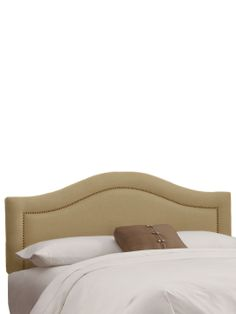 Arch Inset Nail Button Headboard in Linen by Platinum Collection by SF Designs at Gilt